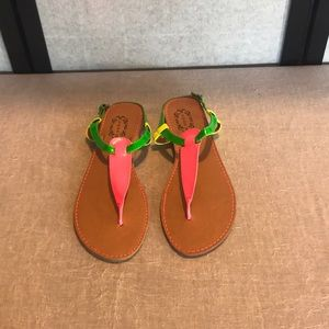 N.YL.A yellow,green, pink strap sandals